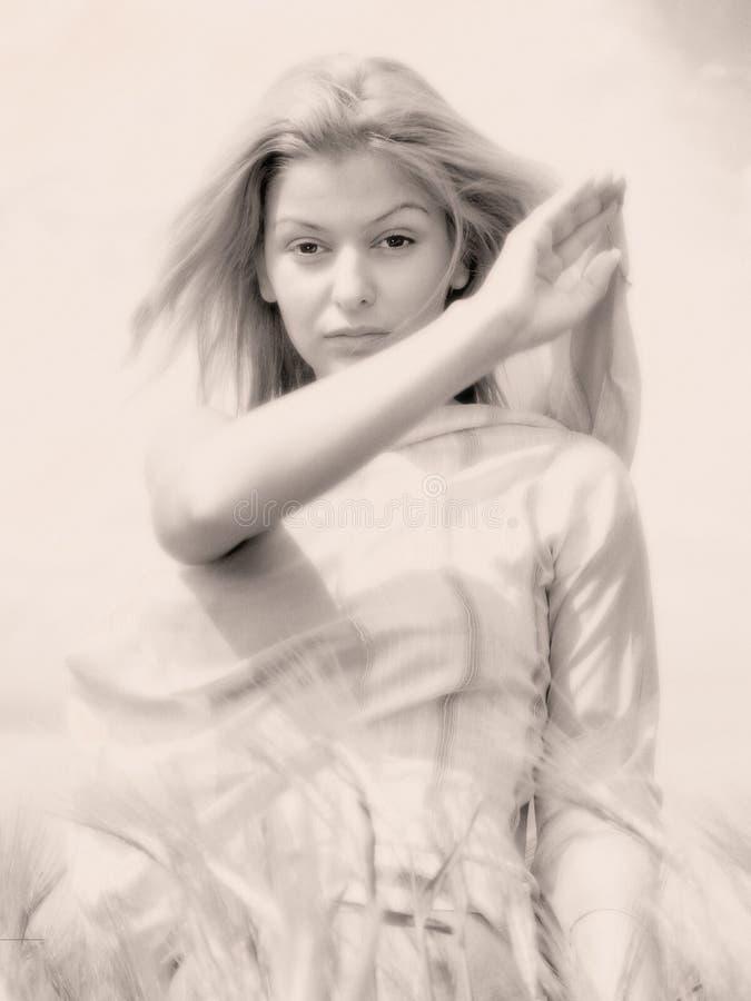 Mujer joven en campo fotos de archivo