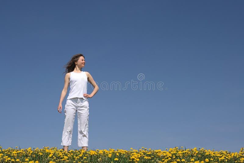 Mujer joven en campo floreciente fotos de archivo libres de regalías