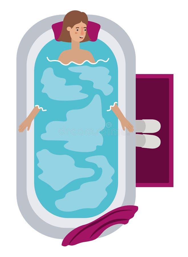Mujer joven en carácter del avatar de la bañera stock de ilustración