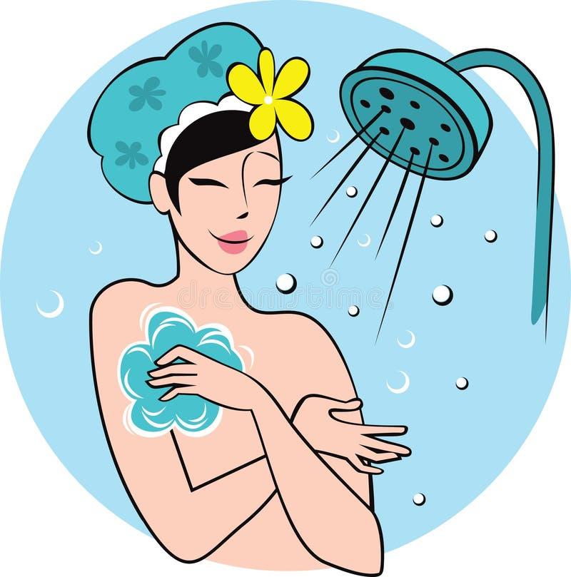 Mujer joven en el baño libre illustration
