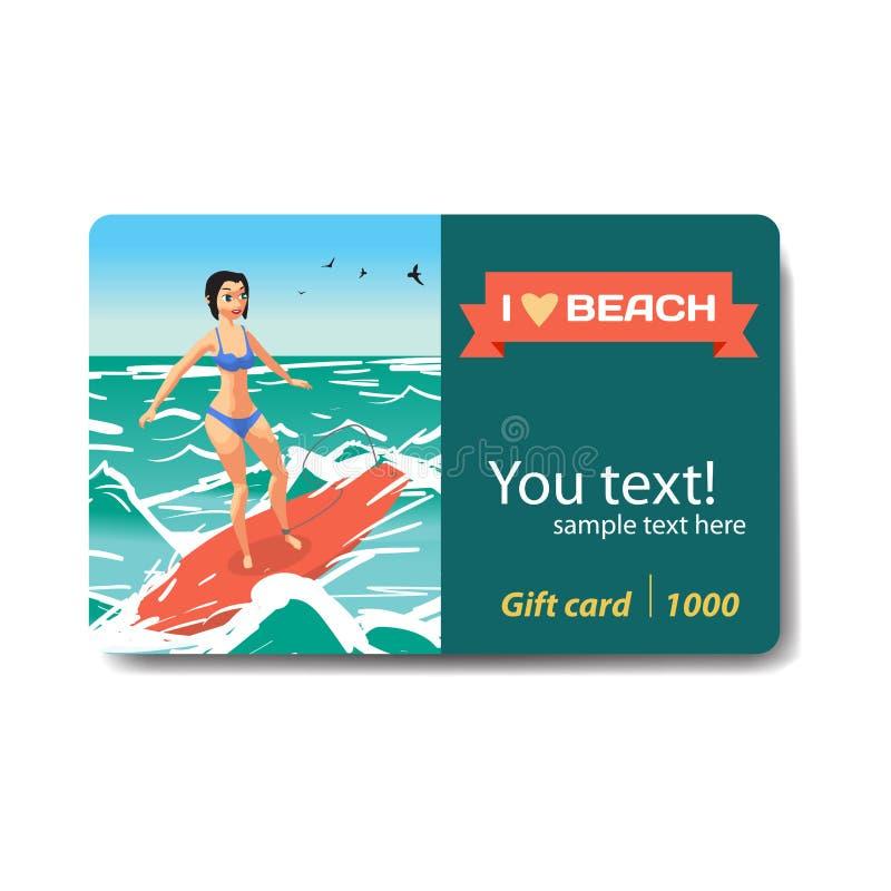 Mujer joven en el bikini que practica surf en la onda Regalo Ca del descuento de la venta ilustración del vector