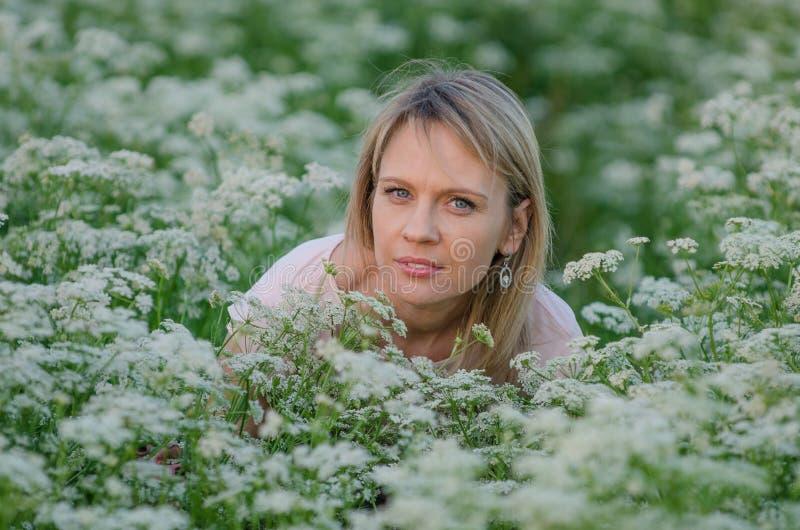 Mujer joven en el campo de la alcaravea imagenes de archivo