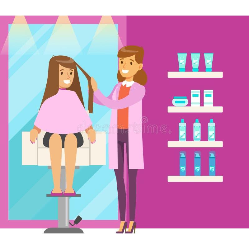 Mujer joven en el salón del peluquero que tiene un corte de pelo Ejemplo colorido del vector del personaje de dibujos animados libre illustration