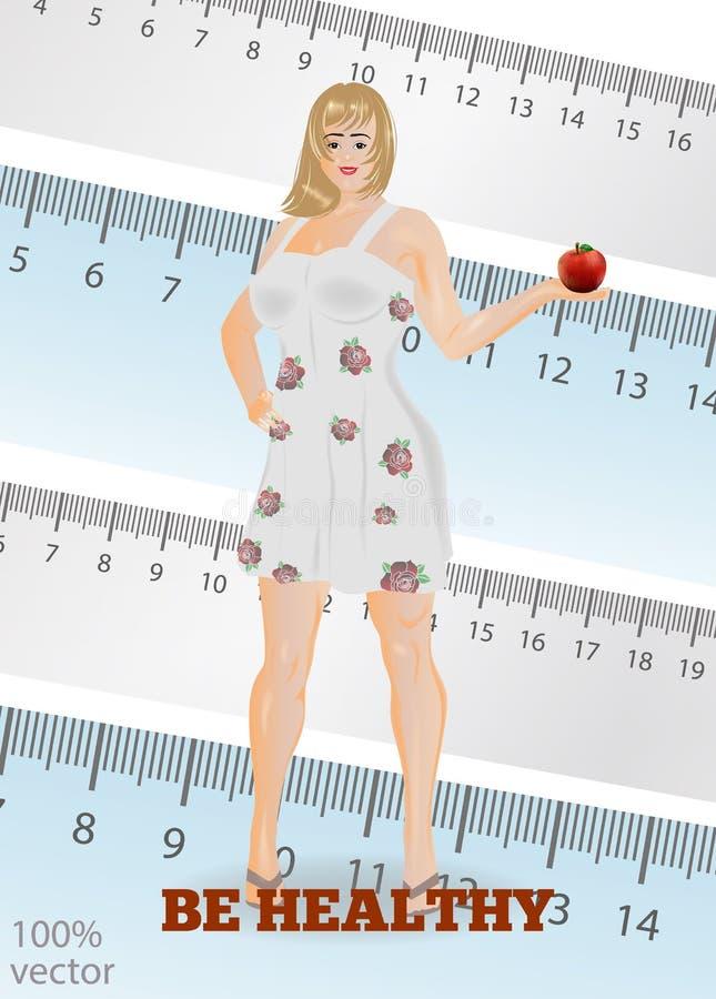 Mujer joven en el vestido del verano, promoviendo forma de vida sana stock de ilustración