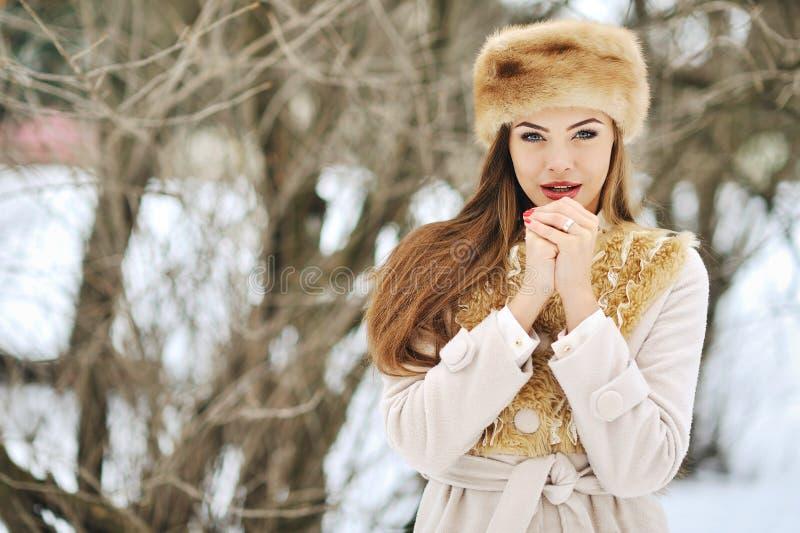 Mujer joven en invierno con las manos al lado de su cara - cercana fotografía de archivo libre de regalías