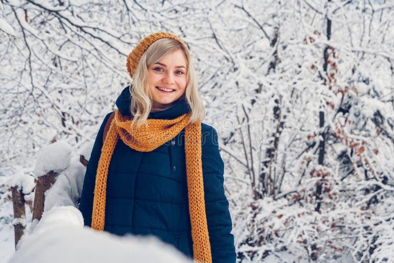 Mujer joven en la nieve fotografía de archivo