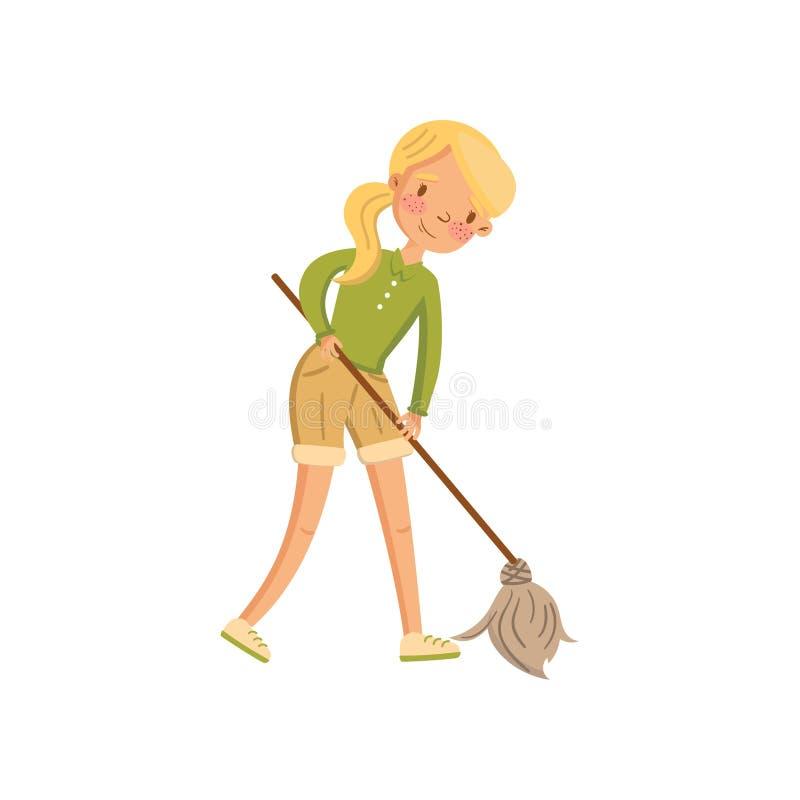 Mujer joven en la ropa informal que limpia el piso con una fregona, ama de casa en vector de la historieta de la actividad del qu stock de ilustración