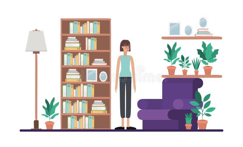 Mujer joven en la sala de estar libre illustration