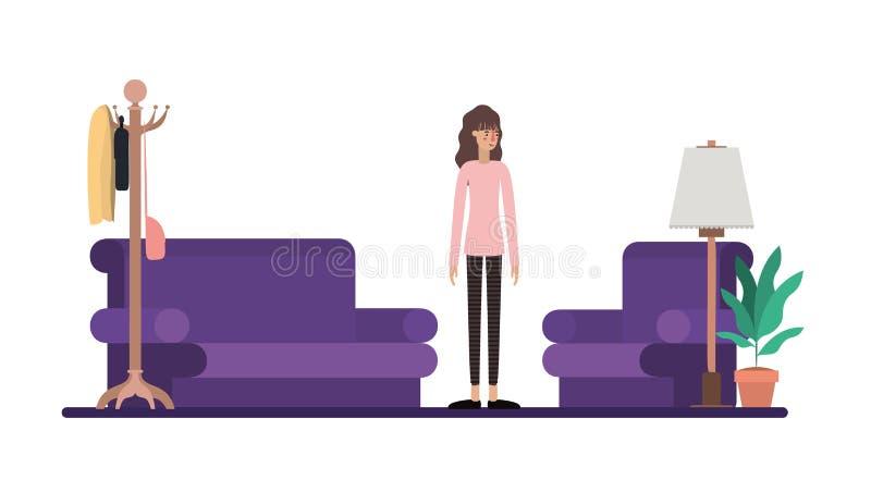 Mujer joven en la sala de estar stock de ilustración