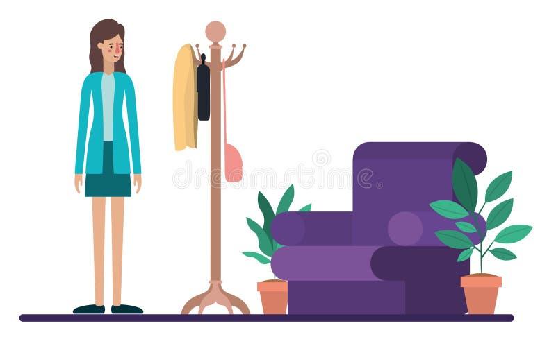 Mujer joven en la sala de estar ilustración del vector