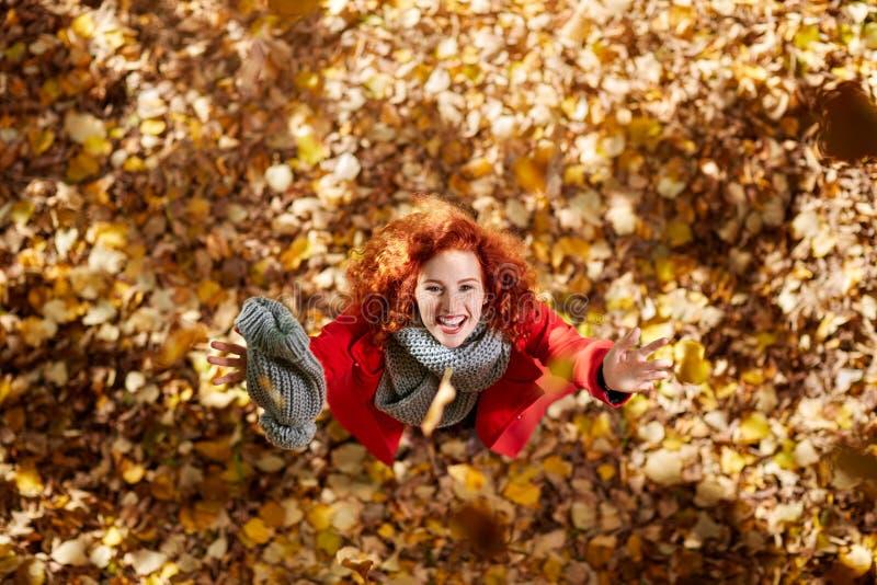 Mujer joven en naturaleza en otoño fotografía de archivo