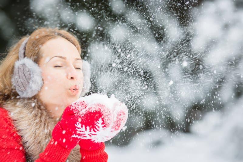 Mujer joven en parque del invierno imagen de archivo libre de regalías