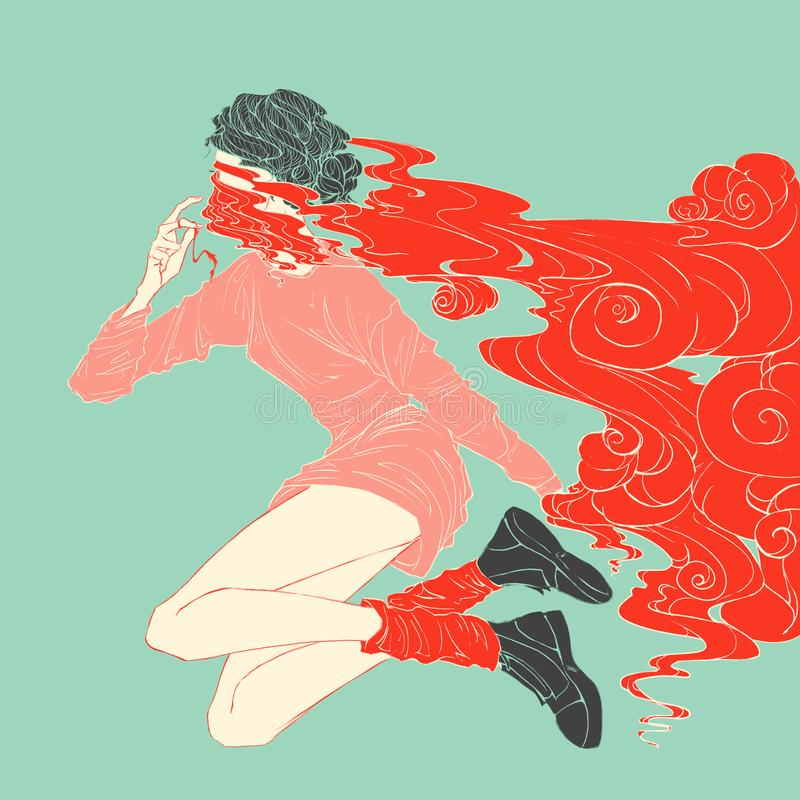 Mujer joven en rojo stock de ilustración