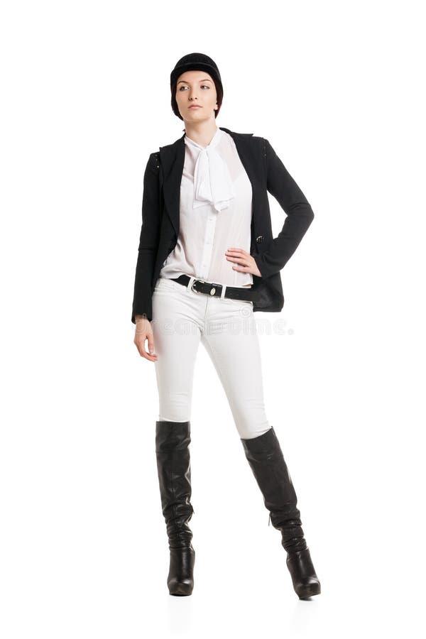 Mujer joven en ropa del montar a caballo imágenes de archivo libres de regalías