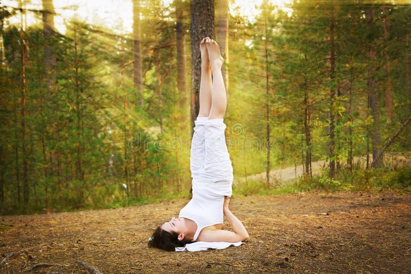 Mujer joven en soporte del hombro de la yoga en bosque foto de archivo