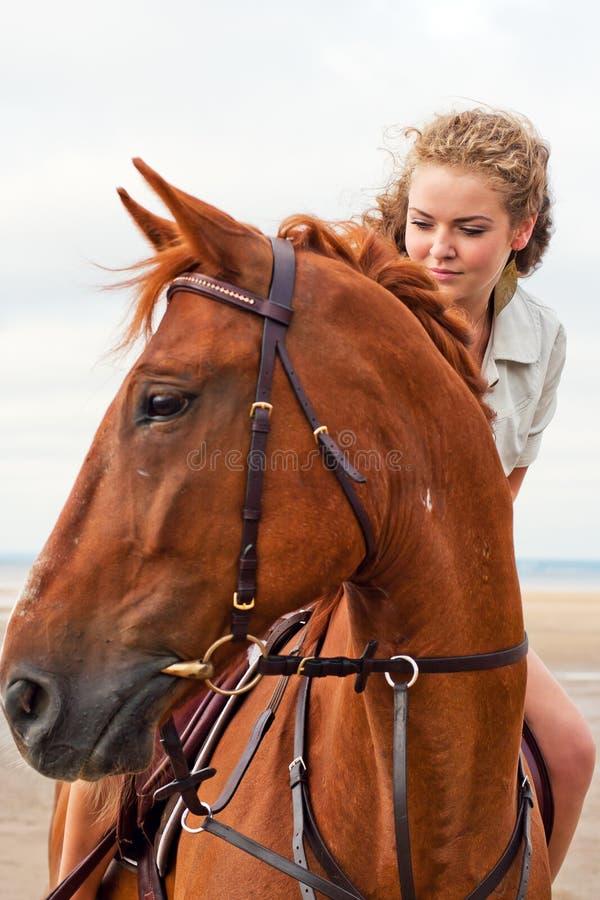 Mujer joven en un caballo fotos de archivo libres de regalías