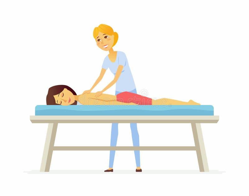 Mujer joven en una sesión del masaje - el carácter de la gente de la historieta aisló el ejemplo stock de ilustración