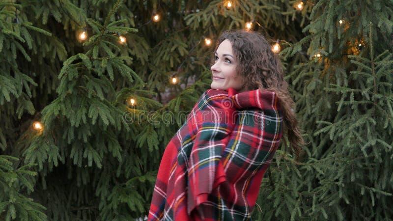 Mujer joven en una tela escocesa contra un fondo y guirnaldas del árbol de navidad fotografía de archivo libre de regalías