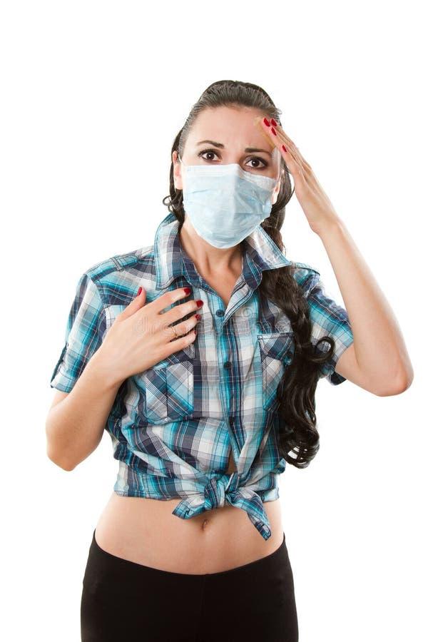 Mujer joven enferma. Alergia. Jaqueca imagen de archivo