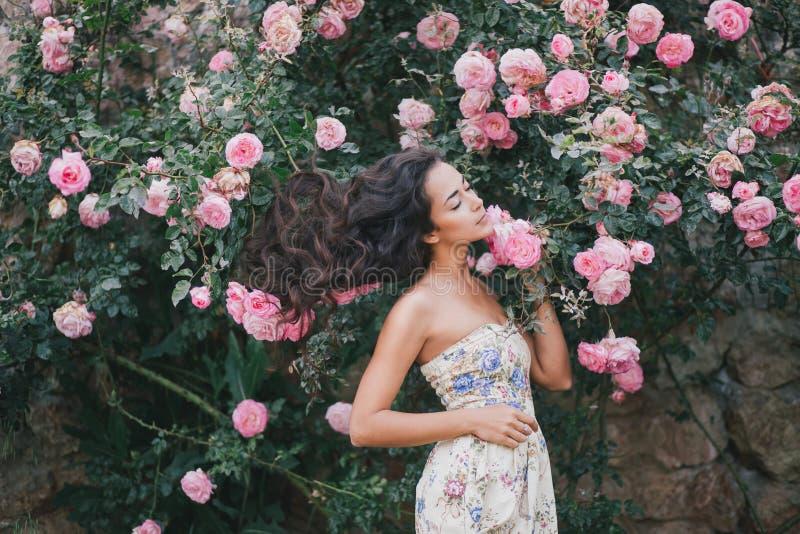 Mujer joven entre rosas en un jardín imagenes de archivo