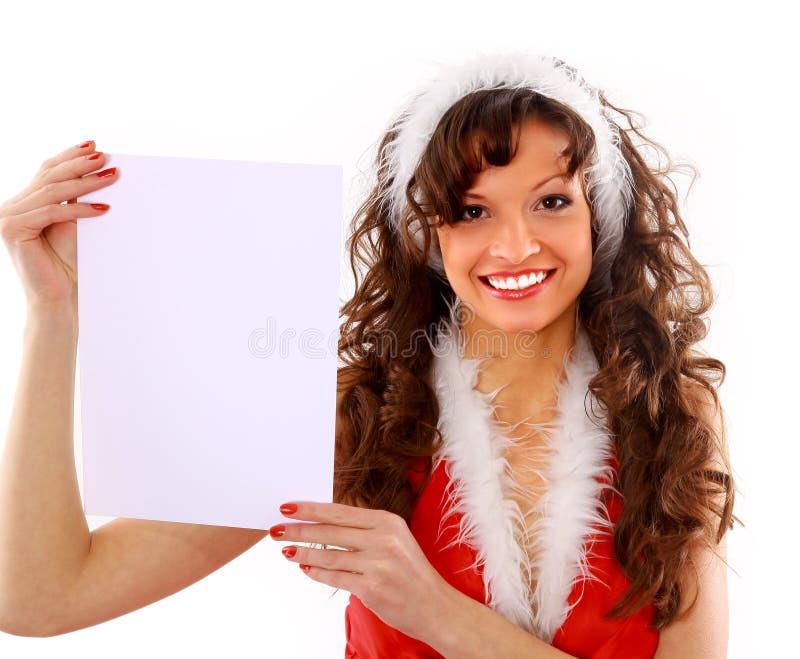 Mujer joven feliz aislada de la Navidad imágenes de archivo libres de regalías
