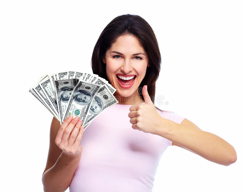 Mujer joven feliz con el dinero. fotografía de archivo libre de regalías