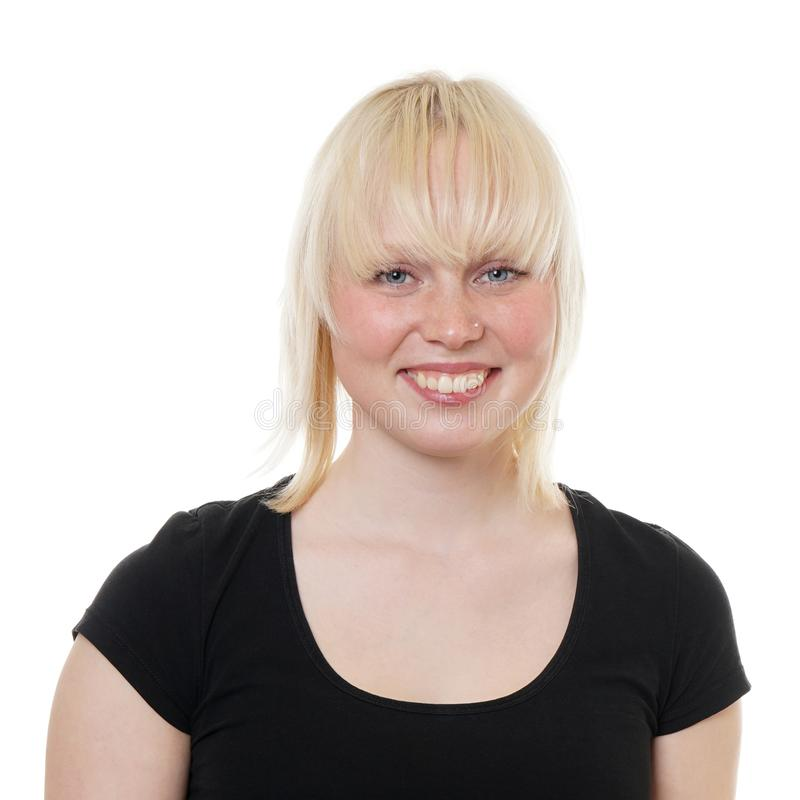 Mujer joven feliz con el pelo remolque-coloreado imagenes de archivo