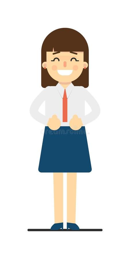 Mujer joven feliz con las manos en gesto de la cintura libre illustration