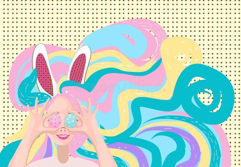 Mujer joven feliz con los oídos del conejito en su cabeza que soporta un colorido ilustración del vector