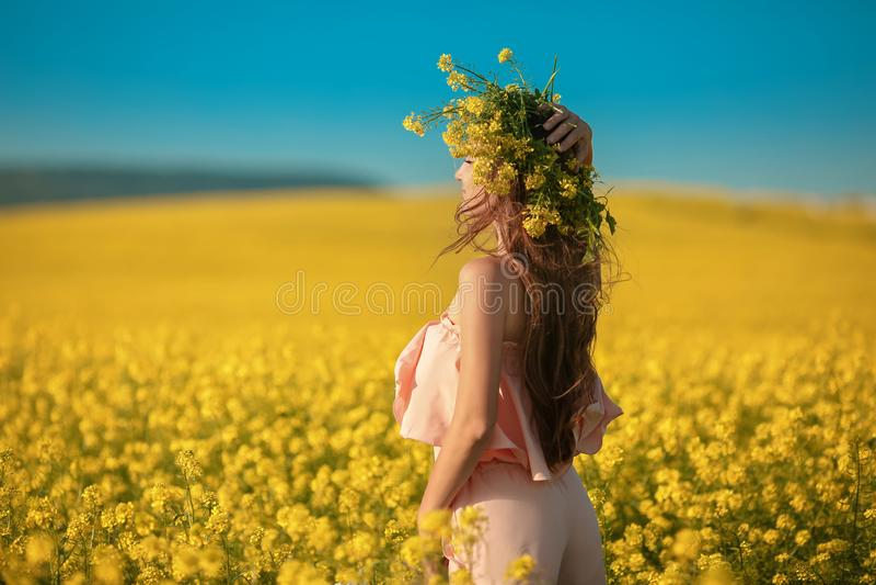 Mujer joven feliz libre en campo de la violación que disfruta de vida Brune bonito imagen de archivo