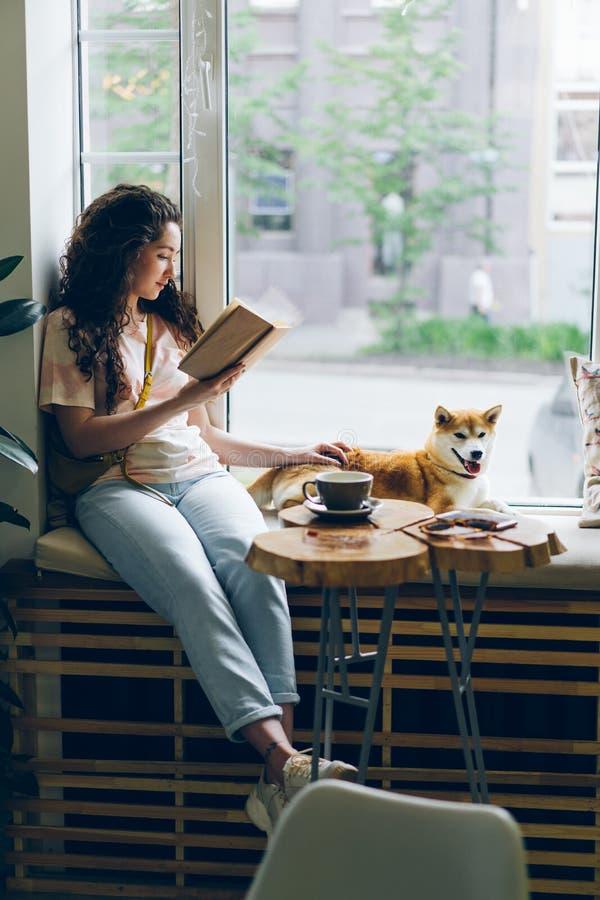 Mujer joven feliz que goza del libro y del perro que acaricia que se sientan en travesaño de la ventana en café fotografía de archivo libre de regalías