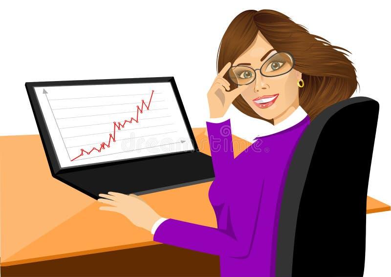 Mujer joven feliz que usa la computadora portátil stock de ilustración