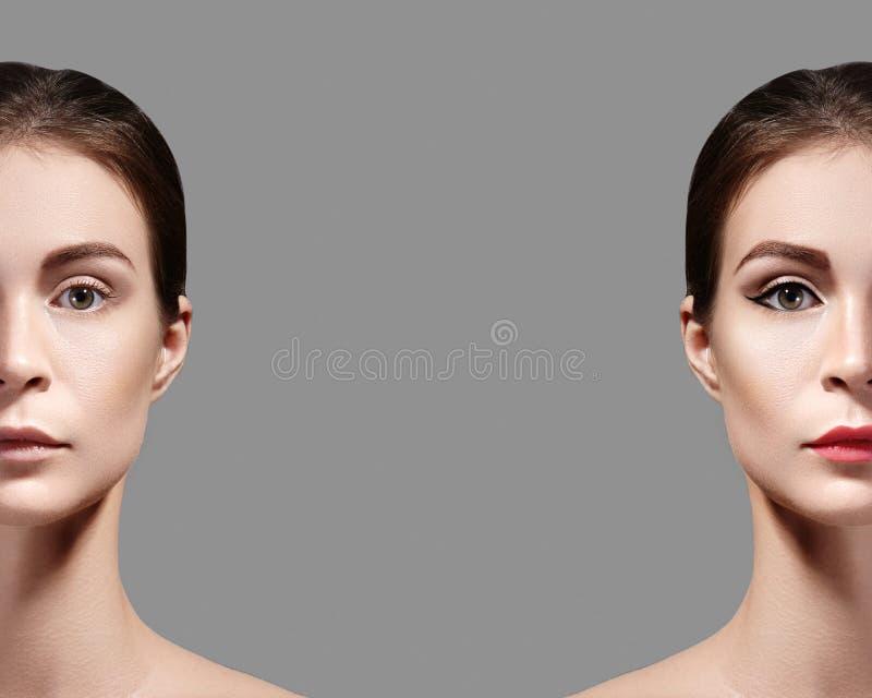 Mujer joven hermosa antes y después del maquillaje Retrato de la comparación de dos porciones de la cara Muchacha con y sin maqui fotos de archivo libres de regalías