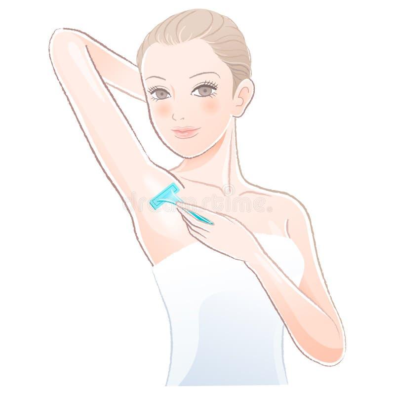 Mujer joven hermosa    aplicación de la maquinilla de afeitar al axila que afeita libre illustration