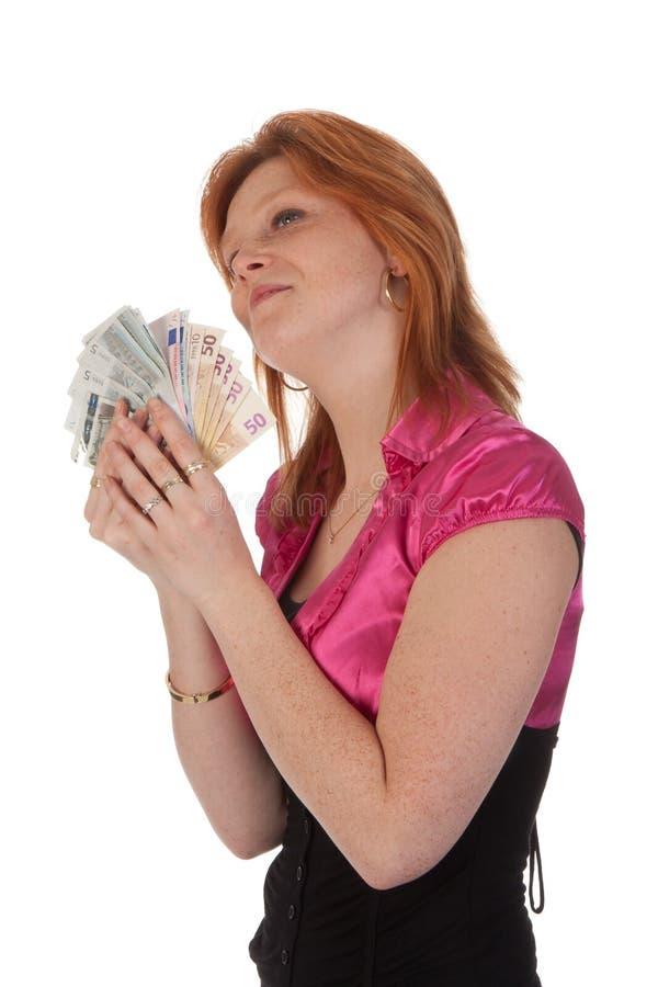 Mujer joven hermosa con el dinero fotografía de archivo libre de regalías