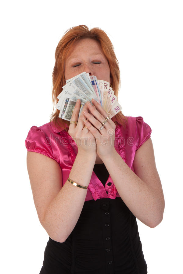 Mujer joven hermosa con el dinero fotos de archivo