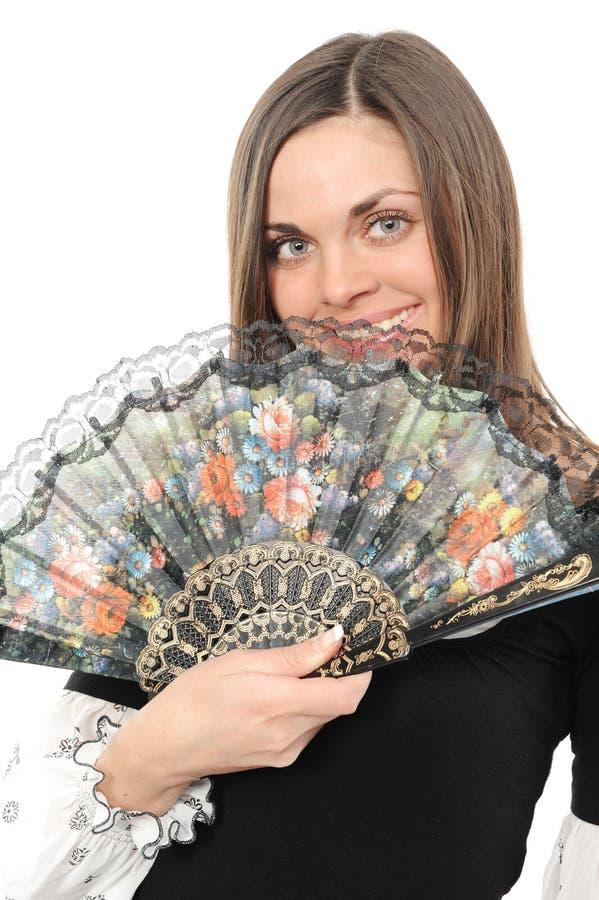 Mujer joven hermosa con el ventilador imágenes de archivo libres de regalías