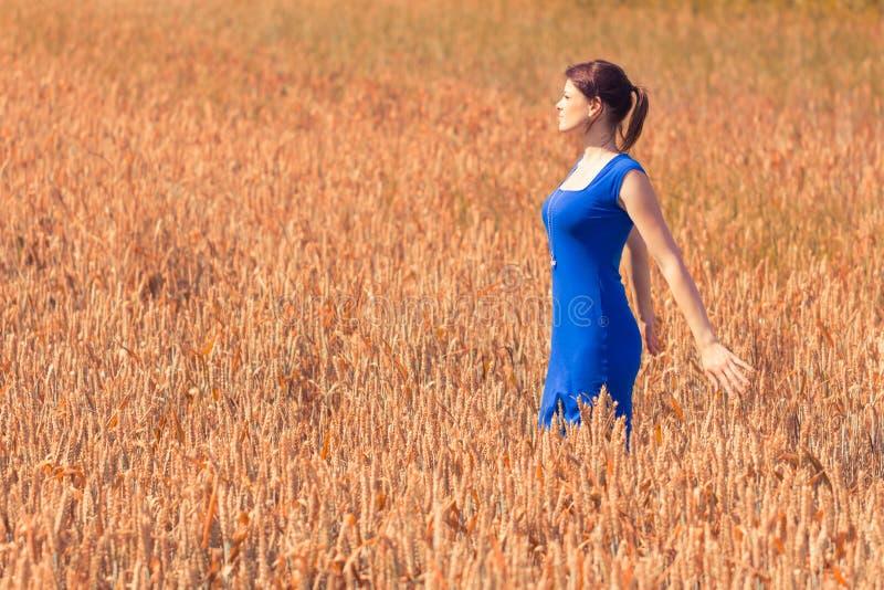 Mujer joven hermosa con el vestido bonito en naturaleza fotografía de archivo