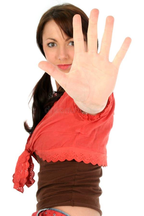 Mujer joven hermosa con la mano para arriba imágenes de archivo libres de regalías