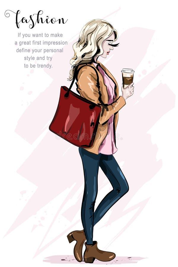 Mujer joven hermosa con la maqueta de papel de la taza de café Mujer dibujada mano del pelo rubio Modelo de manera en alineada de ilustración del vector