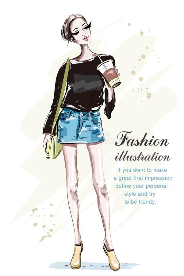 Mujer joven hermosa con la taza de café Señora dibujada mano de la moda con el bolso stock de ilustración