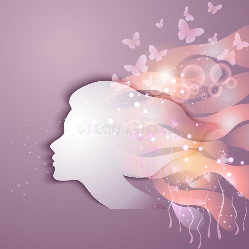 Mujer joven hermosa con las flores ilustración del vector