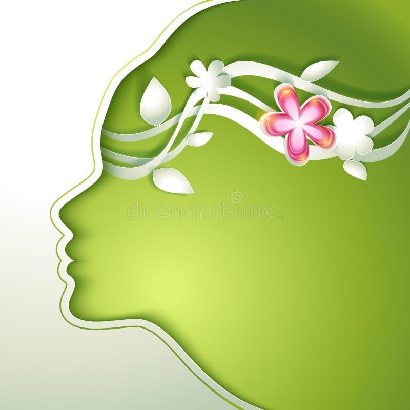 Mujer joven hermosa con las flores en pelo stock de ilustración