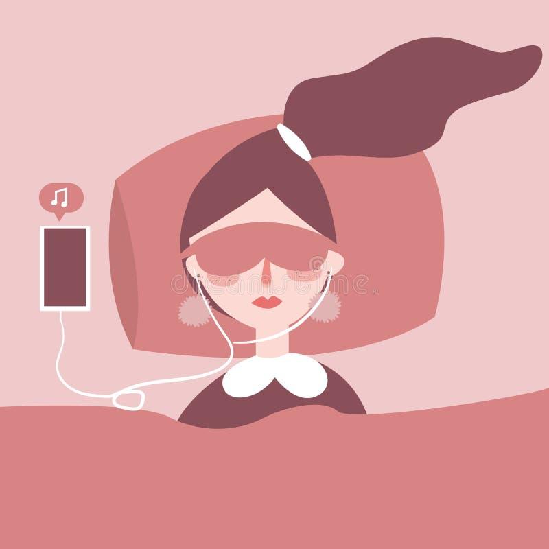 Mujer joven hermosa con los auriculares que se relajan en la cama, ella está escuchando la música usando un teléfono elegante, se ilustración del vector