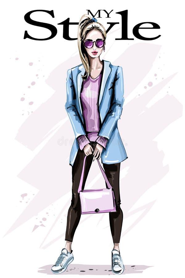 Mujer joven hermosa dibujada mano con el bolso Mujer del pelo rubio de la moda Muchacha con estilo libre illustration