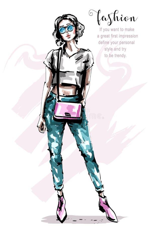 Mujer joven hermosa dibujada mano con el bolso Muchacha elegante elegante del pelo rubio Mirada de la mujer de la moda ilustración del vector