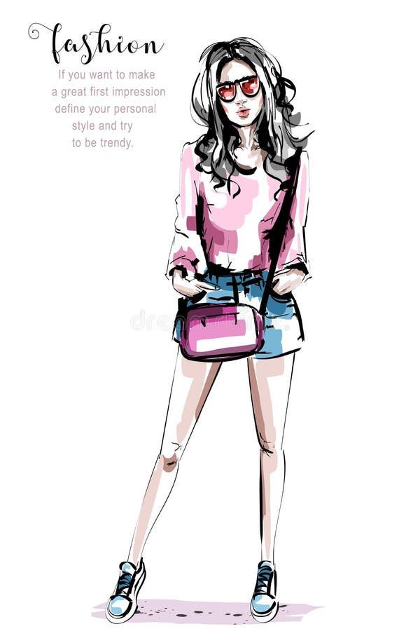 Mujer joven hermosa dibujada mano con el bolso Muchacha elegante elegante Retrato de la mujer de la manera stock de ilustración