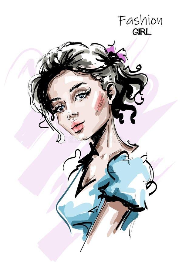 Mujer joven hermosa dibujada mano del pelo rubio Muchacha elegante elegante Retrato de la mujer de la manera libre illustration