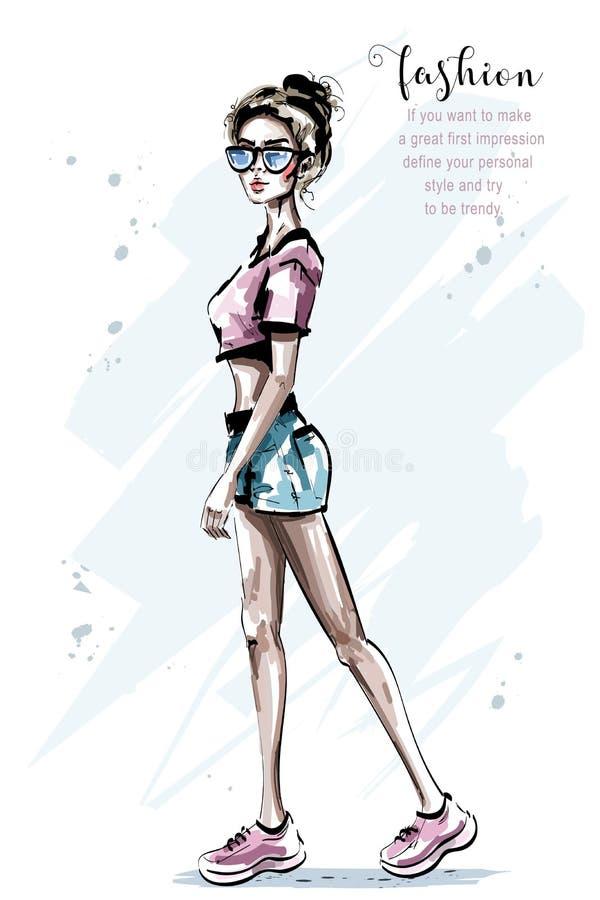 Mujer joven hermosa dibujada mano en gafas de sol Muchacha elegante elegante en ropa informal Mujer de la manera ilustración del vector