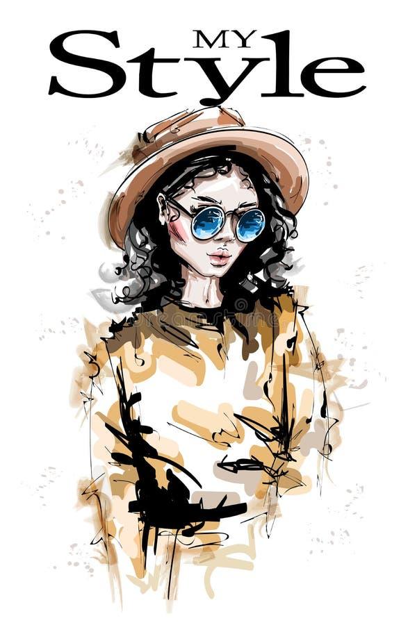 Mujer joven hermosa dibujada mano en sombrero Mirada elegante elegante de la muchacha Retrato de la mujer de la manera stock de ilustración